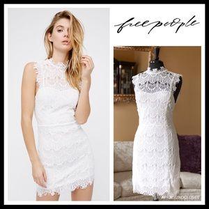 FREE PEOPLE WHITE CROCHET LACE OPEN BACK DRESS